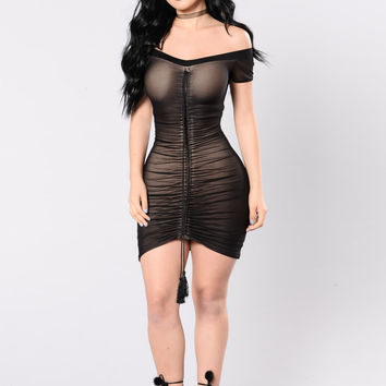 Sippin Strawberry Champagne Dress - Black