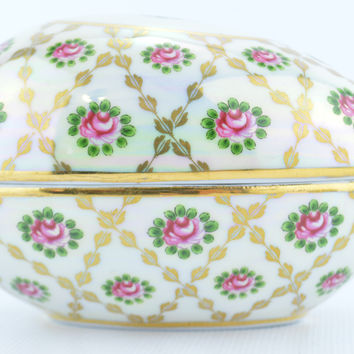 Ceramic Egg Trinket Box Opalescent with Rose & Gold Accents