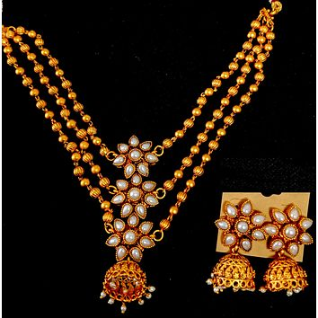 Triple stranded Traditional Gold matte finish jhumka hanging Necklace and Earring set