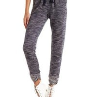 Marled French Terry Jogger Pants by Charlotte Russe - Navy Combo
