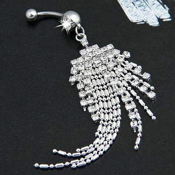Tassel Navel Piercing Crystal Rhinestone Dangle Belly Button Ring Body Jewelry SM6