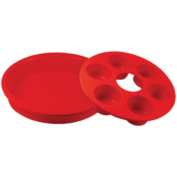 Orka Silicone & Nylon Round Cake Pan With 6-mold Muffin Pan (red)