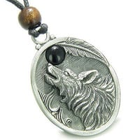 Amulet Howling Wolf and Black Onyx Moon Gemstone Oval Shape Fine Pewter Lucky Ch