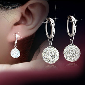 Silver Plated crystal women earrings long earrings fashion Drop earrings Shambhala fashion jewelry