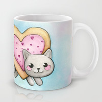 Nyan Cat LOVE Valentine Heart Mug by Olechka