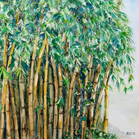 Bamboo Forest Original Watercolor Painting with Pen Detail - Small Square 7x7 Art