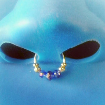 Faux septum piercing Blue Crystal beabed fake Septum jewellery Nose Hoop Cuff custom Clip on- fake nose ring- For Him/ For Her
