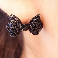 Fashion Black Bow Tie Stud Earrings