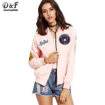 Pink Embroidered Patch Zipper Bomber Jacket Women's Stand Collar Long Sleeve Twin Pockets Coat