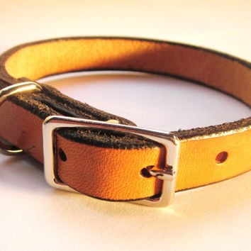 "Leather Dog Collar 1/2"" wide, Small Dog Collar, Puppy Collar, Handmade Dog Collar"