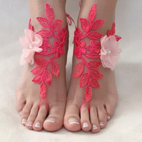 Pink coral lace barefoot sandals, FREE SHIP, beach wedding barefoot sandals, belly dance, lace shoes, bridesmaid gift, beach shoes