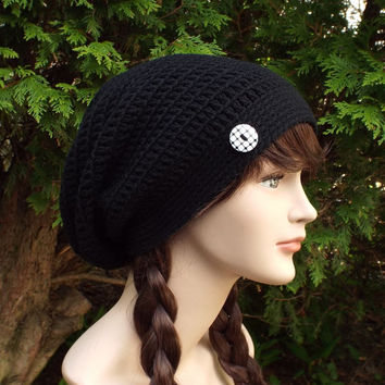 Black Slouch Beanie - Womens Slouchy Crochet Hat - Ladies Oversized Cap with Button - Hipster Hat - Baggy Beanie