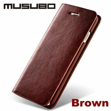 LMFUS4 New Luxury Genuine Real Leather Mobile Phone Case For 5 iPhone 6 & 6s Plus & SE  4 Wallet Cover Case With Card Slot Flip Holster