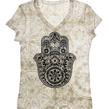 PLUS SIZE - woman hamsa hand print  top, t shirt and tank(160)