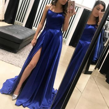 A Line Halter Backless Long Blue Prom Dress