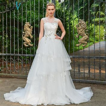 Dressv Scoop Neck Ball Gown Long Wedding Dress Sleeveless Appliques Tulle Beading Button Tiered Church Princess Wedding Dresses