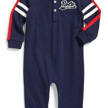 Infant Boy's Ralph Lauren Henley Romper,