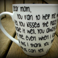 Personalized Thank you Mom Mothers Day Mug, Unique Mothers Day Gift. Mother Poem