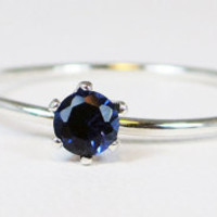 Tiny Blue Sapphire Stacking Ring - Sterling Silver