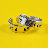to infinity and beyond - Hand Stamped Aluminum Double Rings, Adjustable Skinny Ring, Lion King Inspired