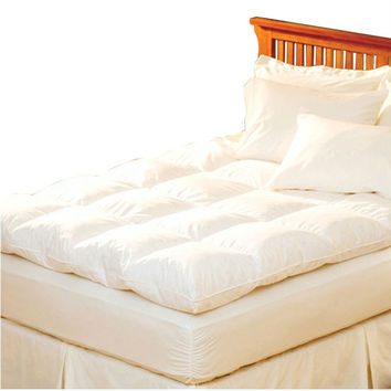 Queen Size Feather Bed Topper With 100% Cotton Quilted Baffle Box Design