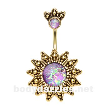 Golden Antique Opal Sunburst Belly Button Ring 14ga Navel Ring Body Jewelry