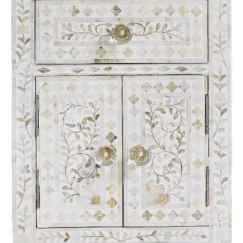 Bone Inlay Furniture - White / Neutral Nightstand Side Table Floral Pattern | Free Shipping
