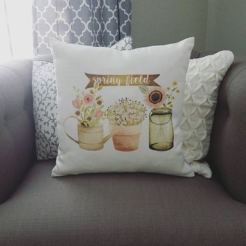 Watercolor Pillow Cover, rustic Pillow Cover, Spring pillow cover, 18x18, Farmhouse pillow cover