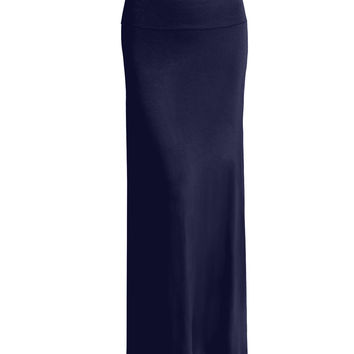 Womens Fold Over Floor Length Maxi Skirt with Stretch