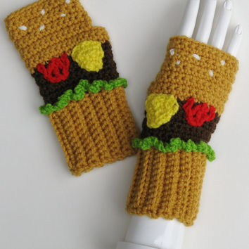 Cheeseburger Wristwarmer Set, Mitts, Fingerless Gloves, Crocheted Handwarmers, Armwarmers, Ready to Ship