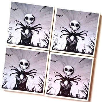 Weekend Only Sale Jack Skellington Nightmare Before Christmas Drink Coasters Cork – Set of 4