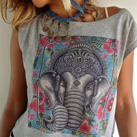 Gray Ganesh  Short Top with Colorful Flower Background.