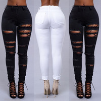 Pants Womens Ladies Clothing White Hollowed Out Hole Stretch Ripped Slim Fit Skinny Denim Jeans Women Lady Size UK 6 8 12 14