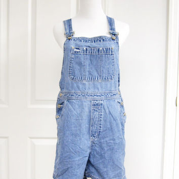 90s Overalls Shortalls Dungarees Medium The Gap Grunge Hipster Light Blue Denim
