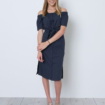 So Many Firsts Shirt-Dress - Navy