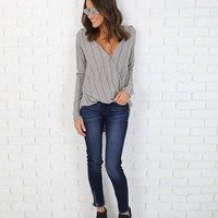Mitcham Striped Drape Top - Grey/ Black