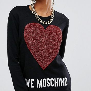 Love Moschino Glitter Heart Jumper at asos.com