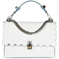 Fendi women's leather shoulder bag original kan I white  Fendi bag