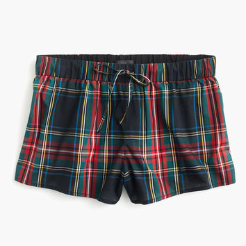 Cotton pajama short in tartan plaid