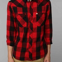 Salt Valley Buffalo Plaid Western Shirt- Red M