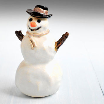 Snowman Christmas decoration handmade ceramic folk art sculpture JOYFUL WOODLANDS