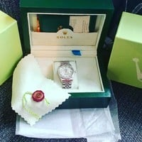 Ladies Stainless Steel Rolex Watch Oyster Perpetual, Datejust, White Pearl.