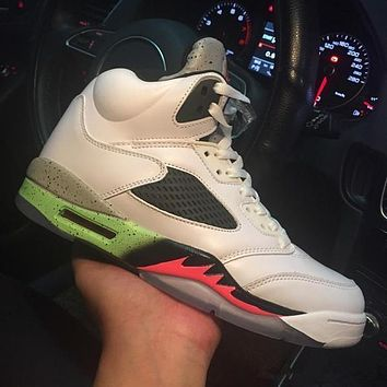 aj 5 Retro Pro Stars Space Jam 136027-115 V White Green Men's Height Increasing Shoes Fashion Shoes Top Quality With Original Box