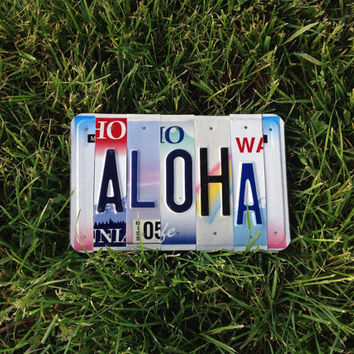 Aloha. License plate. Hawaiian. Hawaii. Giftidea. Love. Hello. Goodbye. Exchange student. Beach. Ocean. Surfer. Teen. Maui. Shells.