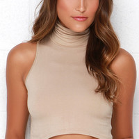 Street Smart Beige Turtleneck Crop Top