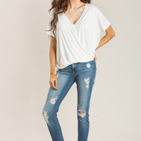 Bridget Off White Short Sleeve Surplice Top
