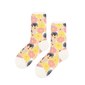 Hansel from Basel Ink Blossom Sheer Crew Socks