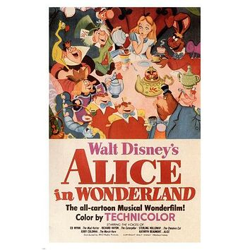 Walt Disney's Alice in Wonderland MOVIE POSTER 1951 24X36 VINTAGE CARTOON - VY1