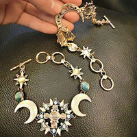 Fashion Bohemian Style Asymmetry Sun Moon Star Bracelet Fashion Rhinestone Jewelry Silver Gold Boho Hippie BL-0437 = 1928656644