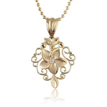 14K Yellow Gold Plumeria Fancy Pendant with Clear CZ